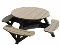 CRP Recycled Plastic Picnic Table in Beige and Black